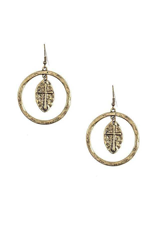 ETCHED CROSS DANGLE CIRCLE EARRING
