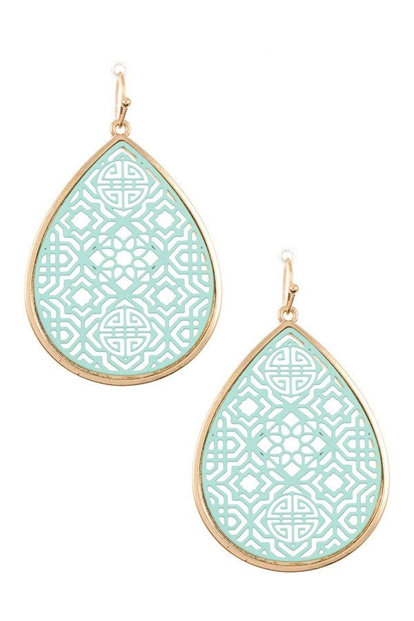 FILIGREE CUT OUT TEARDROP EARRING