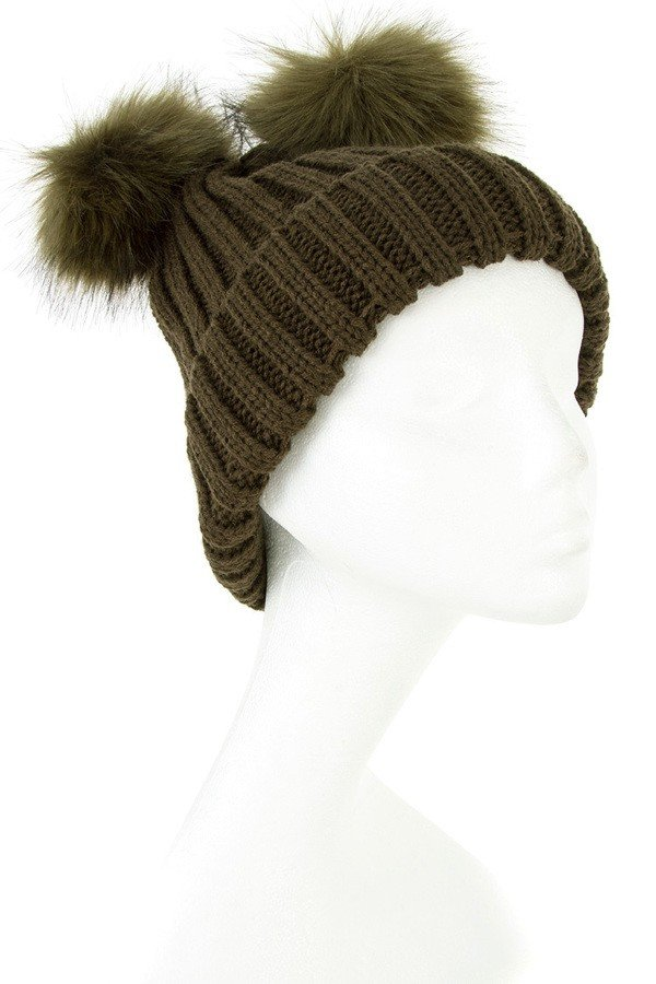 Double Pom Pom Knitted Beanie  100% Acrylic CA Lead and Nickel C