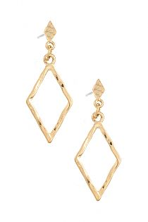 HAMMERED DIAMOND DANGLE DROP EARRING