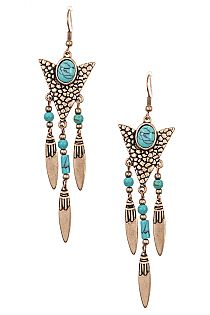 Faux Gem Accent Tribal Etched Dangling Earring
