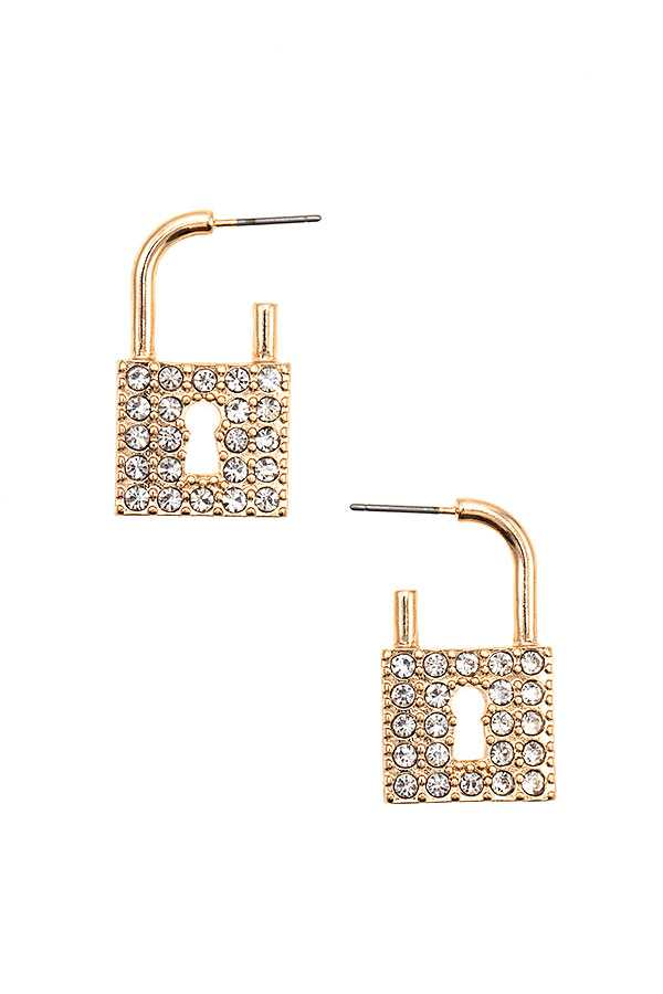 RHINESTONE PAVE LOCK POST EARRING